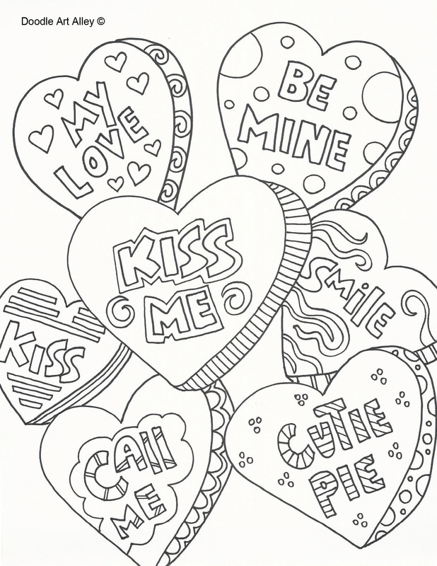 618x800 Valentine Conversation Hearts Coloring Pages
