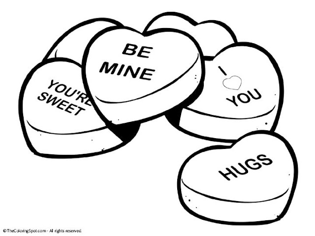 640x480 Conversation Hearts Coloring Pages Valentine Printable Free