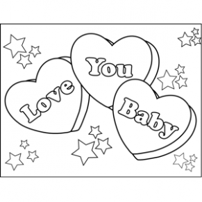 291x291 Love You Baby Candy Hearts Coloring Page