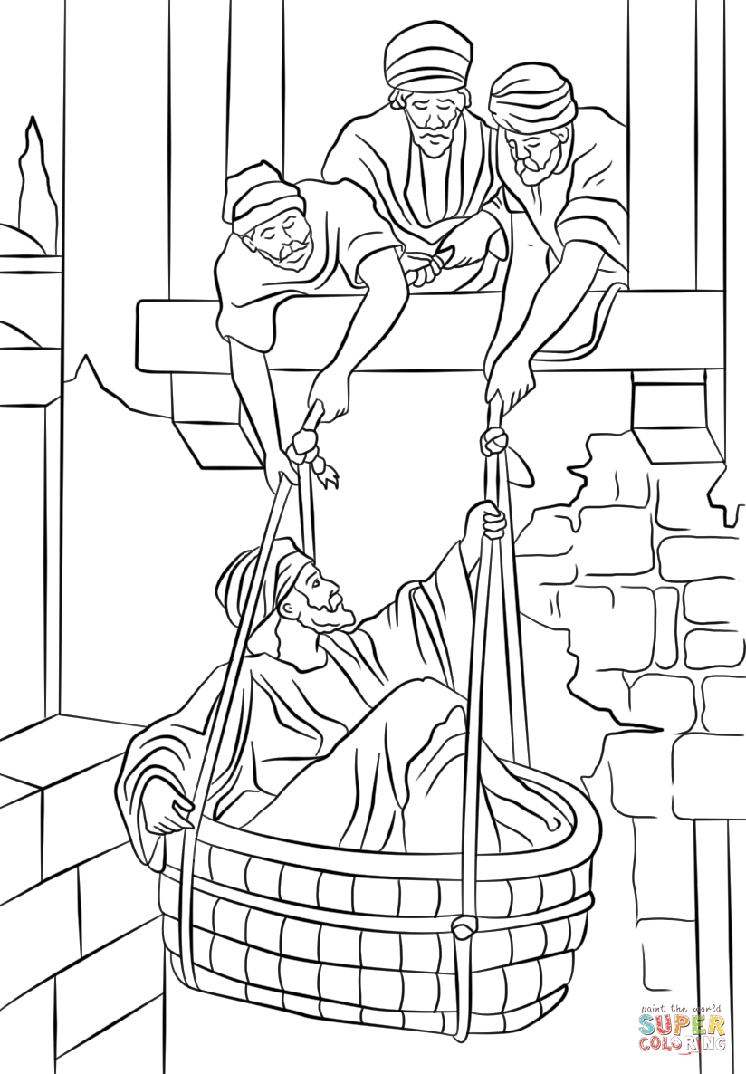 824x1186 Paul On The Road To Damascus Coloring Page Escapes In A Basket