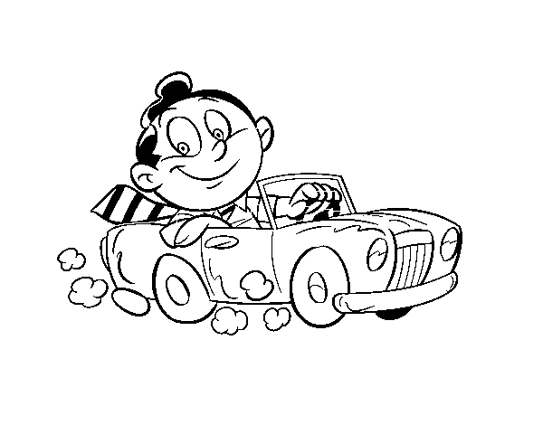 600x470 Man In Convertible Coloring Page