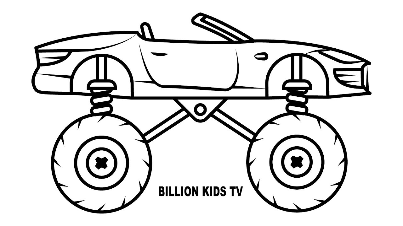 1280x720 Monster Truck Convertible Car Coloring Pages, Colors For Kids