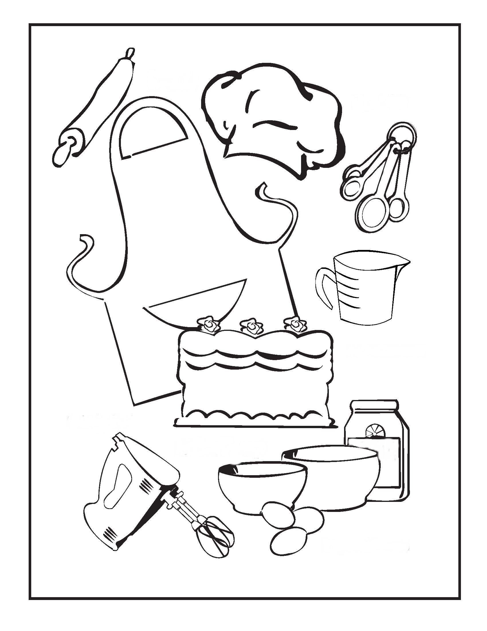 1700x2199 Cooking And Baking Coloring Pages Birthday Printable Recipes