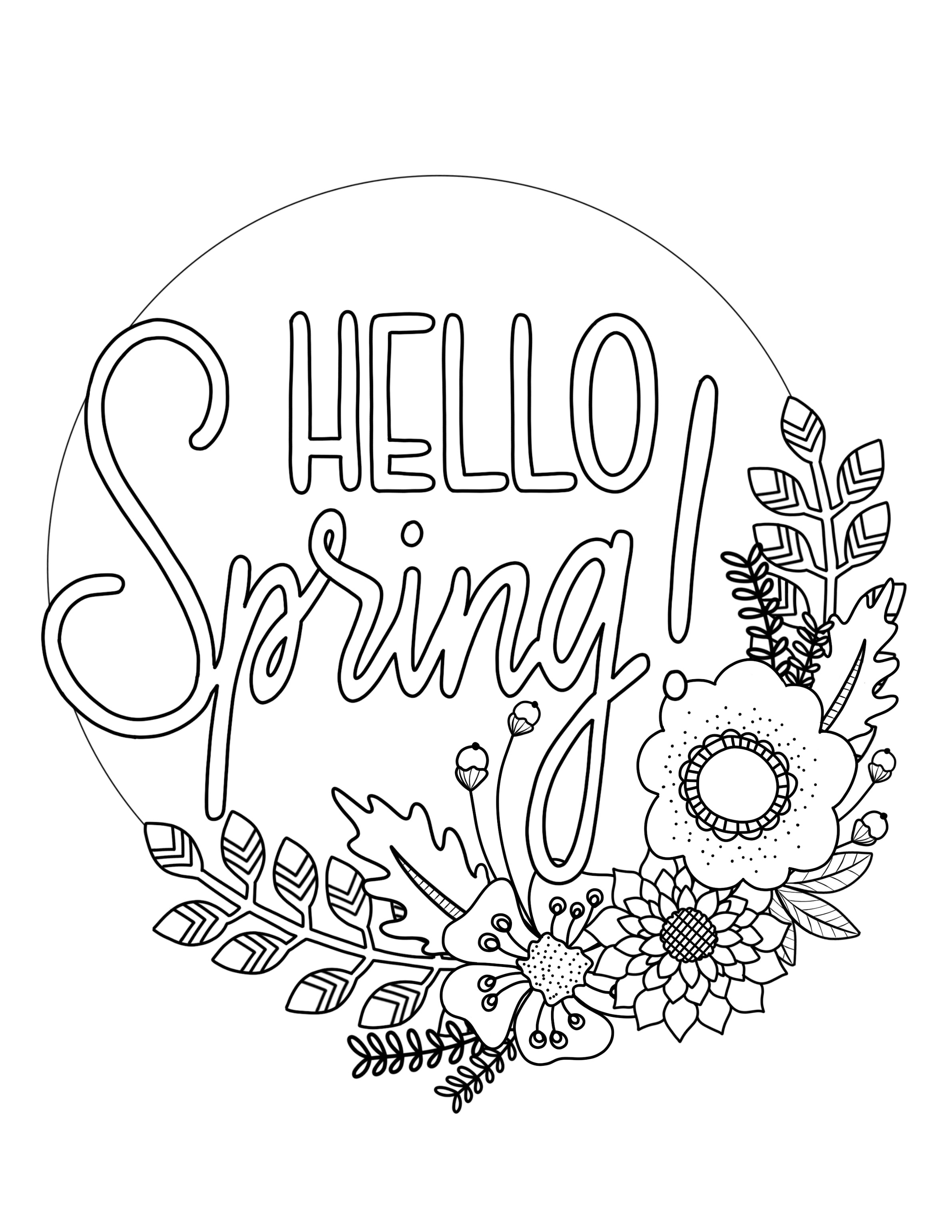 2382x3082 Printable Spring Coloring Page