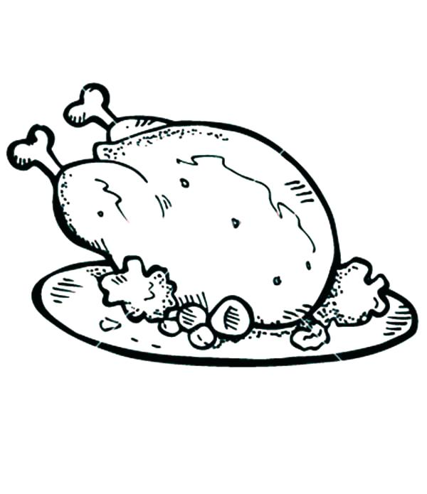 600x695 Chicken Coloring Page Well Cooked Roasted Chicken With Drumstick