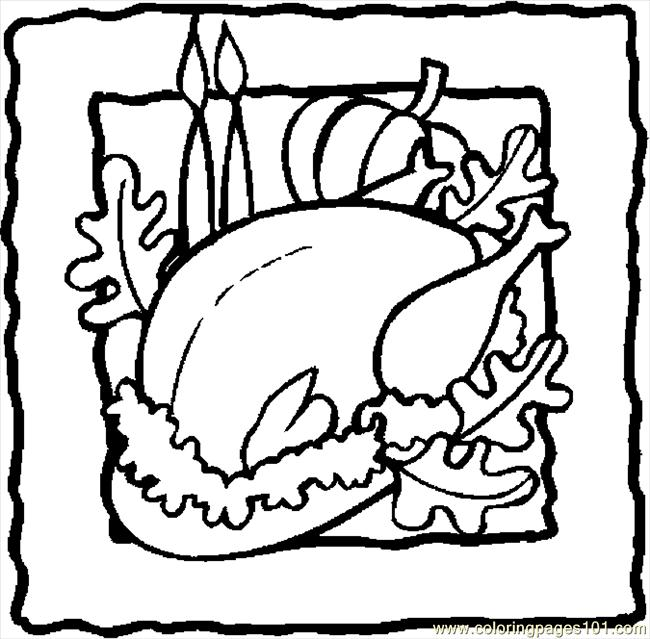 650x639 Thanksgiving Cooked Turkey Coloring Pages