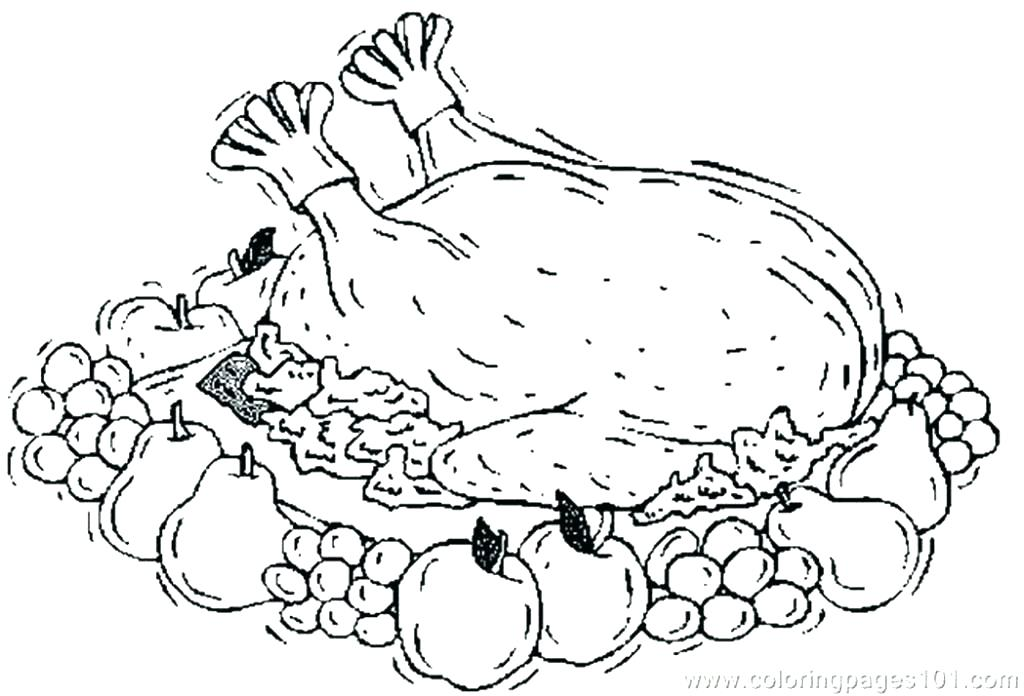 1024x696 Cooked Turkey Coloring Pages