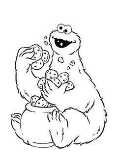 236x334 Cookie Jar Coloring Page Cookie Monster Holding A Lot Of Cake