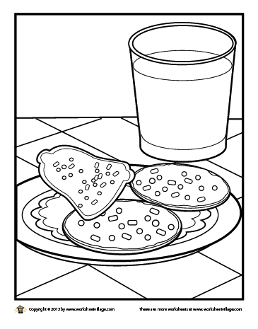 365x465 Milk And Christmas Cookies Coloring Page