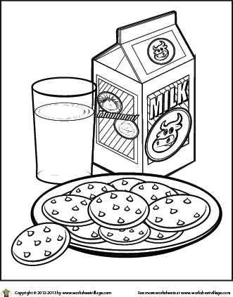 331x423 Milk And Cookies Coloring Page Sheets