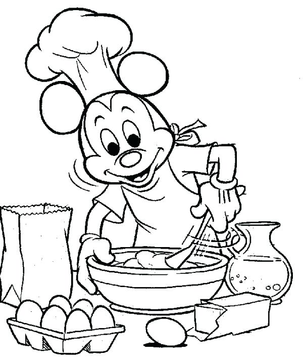 600x717 Cooking Coloring Pages Also Mickey Mouse P On Barbie Cooking