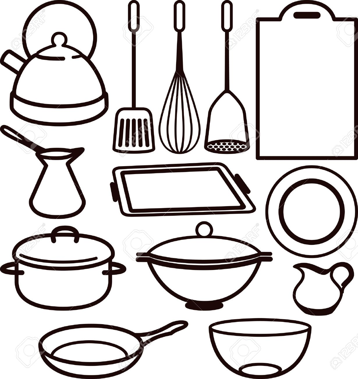 1230x1300 Cooking Utensils Drawing