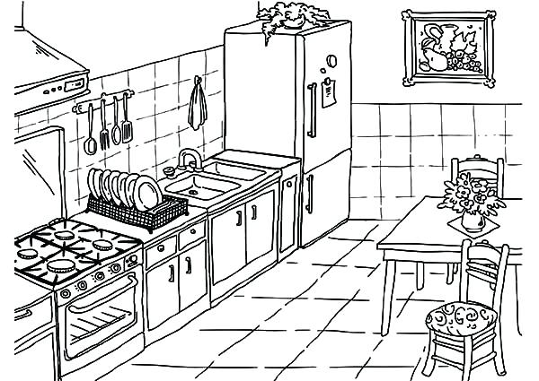 600x425 Kitchen Coloring Pages