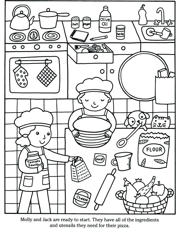 609x770 Kitchen Coloring Pages
