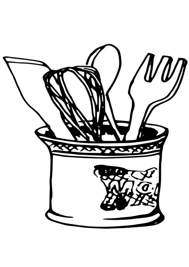 620x875 Coloring Page Kitchen Utensils