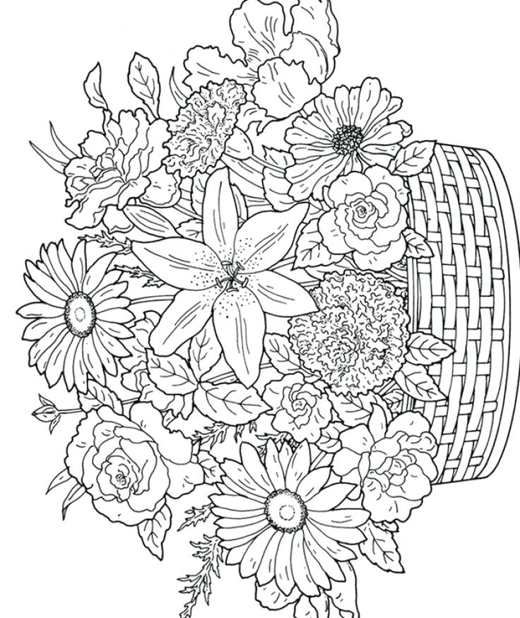 736x875 Coloring Pages For Flowers Coloring Page Flowers Plain Ideas