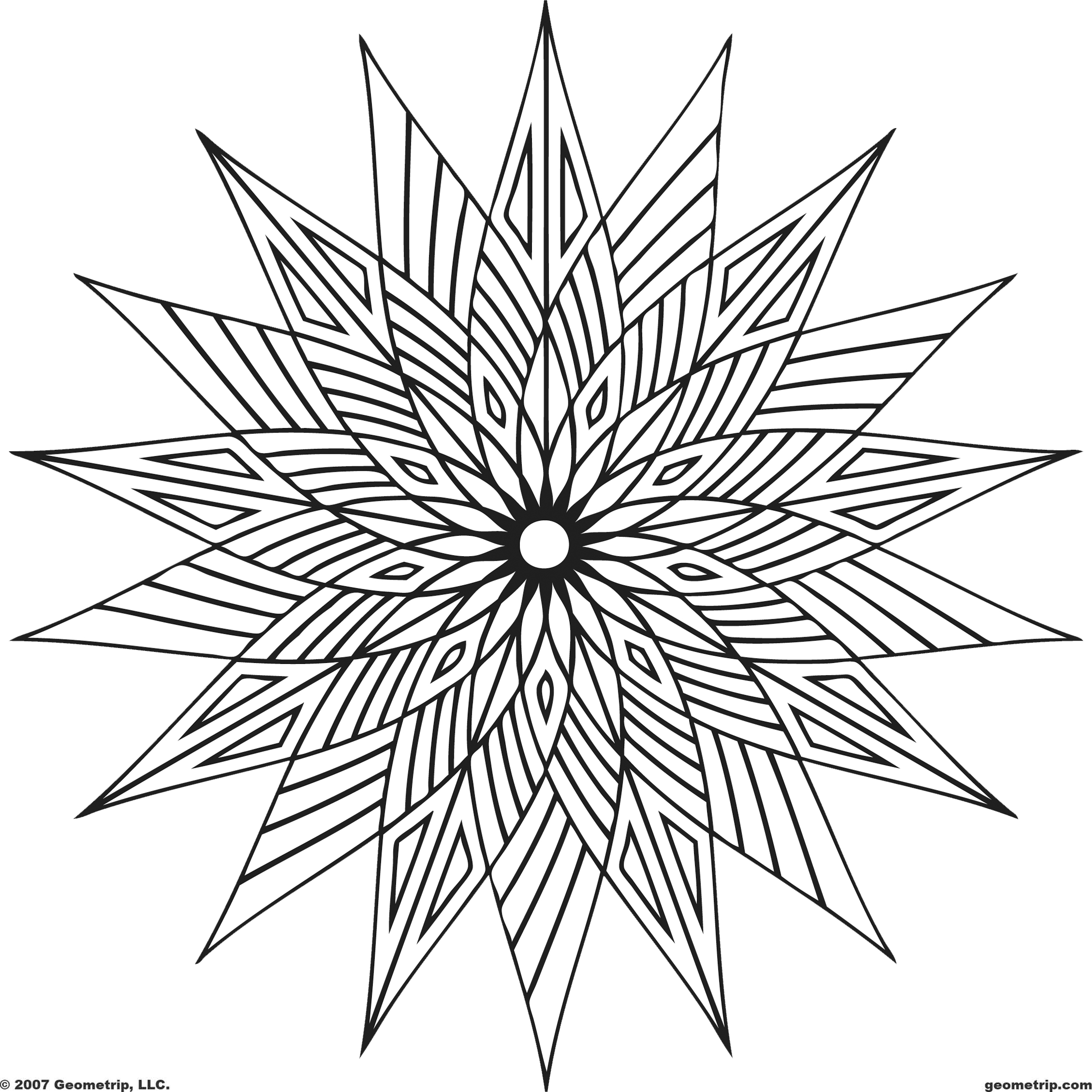 2250x2250 Cool Geometric Design Coloring Pages