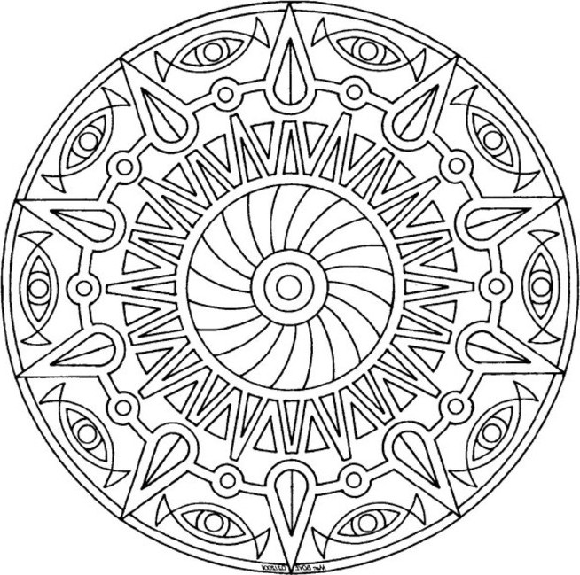 654x649 Awesome Mandala Coloring Pages