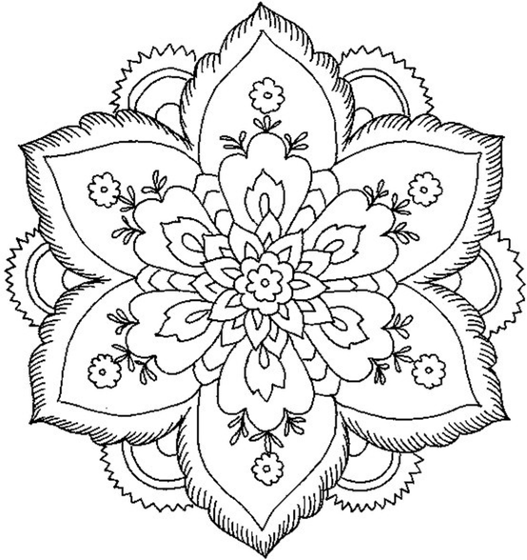 1045x1109 Awesome Floral Mandala Coloring Pages Design Printable Coloring
