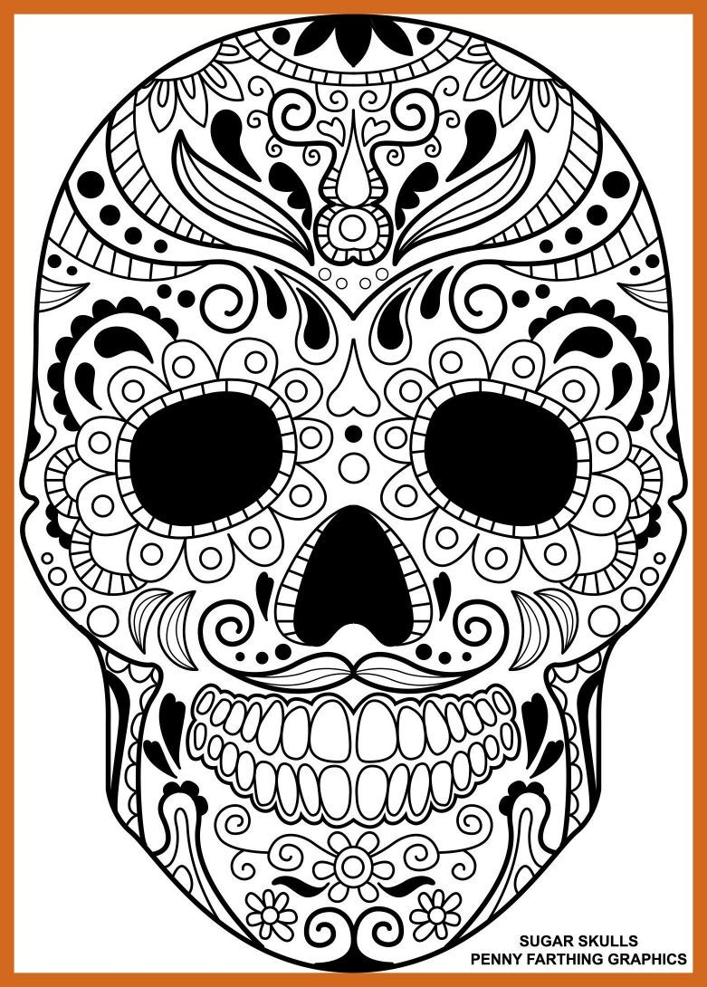 781x1090 Awesome Skull From U Csugar Day Of The Dead Coloring Page Pic
