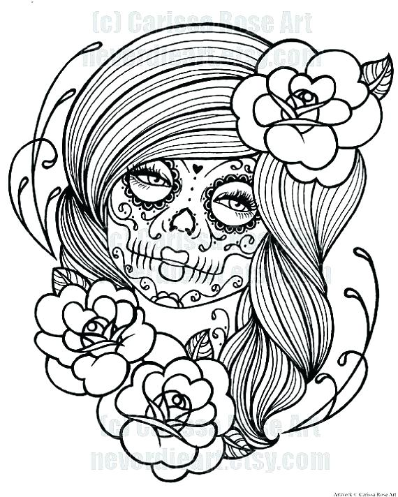 570x712 Skull Coloring Page Sugar Skull Coloring Pages And Find More