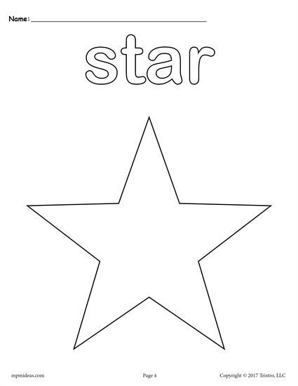 425x550 Shapes Coloring Pages Free Preschool, Shapes And Star