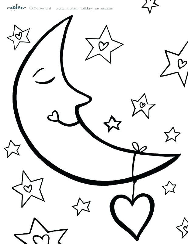 618x800 Star Coloring Sheets Star Coloring Pages Printable Moon And Star