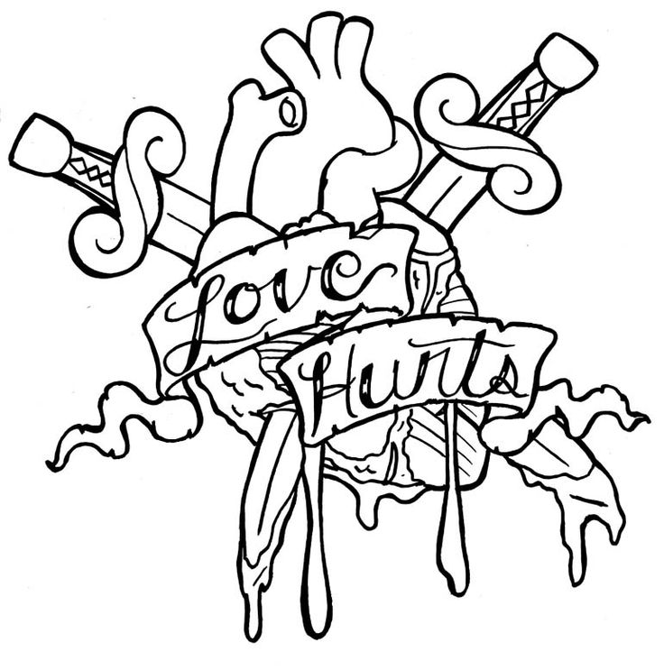736x743 Love Tattoo Coloring Pages