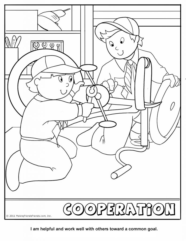 791x1024 Cub Scout Coloring Page Cooperation Pages