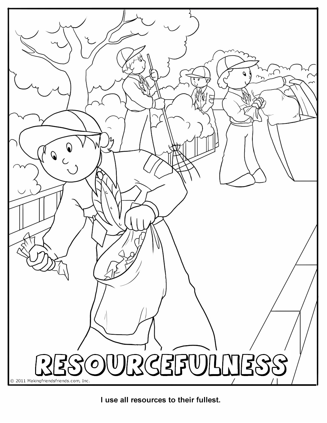 1043x1350 Cub Scout Coloring Page Core Value Resourcefulness Pages