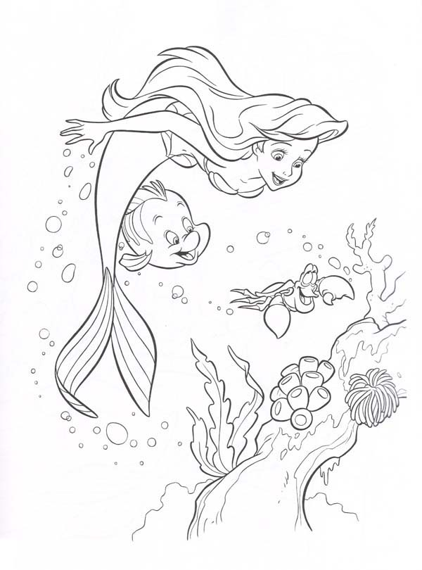 600x810 Coral Reef Coloring Pages Ariel Little Mermaid And Friends Looking