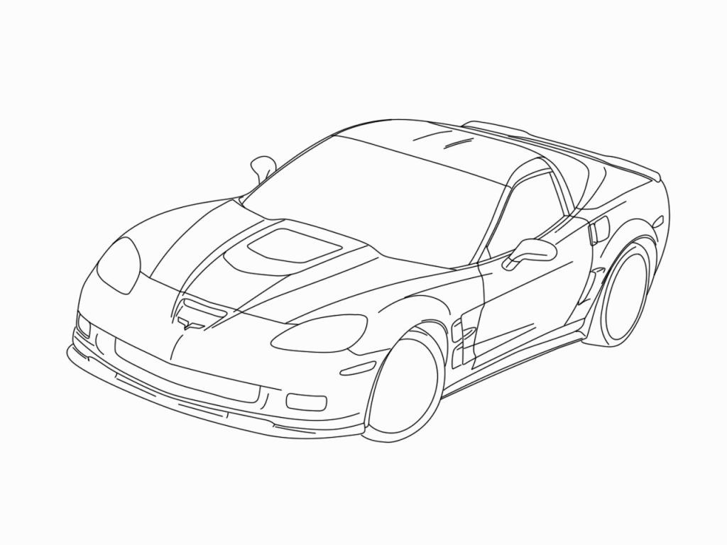1024x768 Corvette Coloring Pages Within