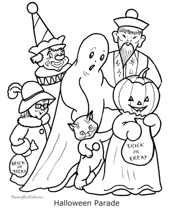 570x698 Fun And Spooky Halloween Coloring Pages Costumes