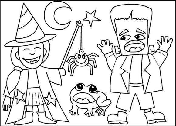 580x417 Halloween Costume Coloring Pages