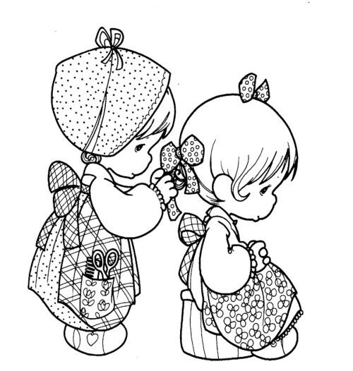500x526 Precious Moments Wearing The Same Costume Coloring Pages Kids