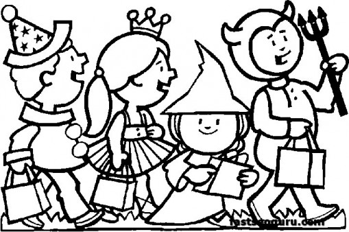 509x338 Kids Costumes Halloween Coloring Pages Free