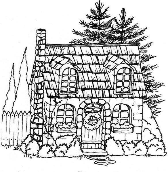 Cottage Coloring Pages
