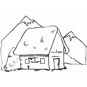 300x300 Cottage In The Mountains Coloring Page