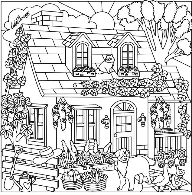 635x646 Cottage Coloring Page Color Me Happy Adult