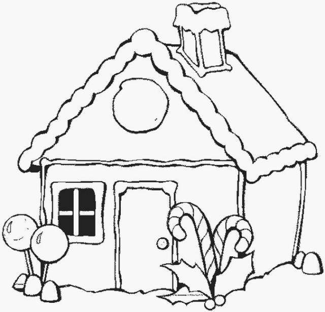 640x615 Cottage Coloring Pages