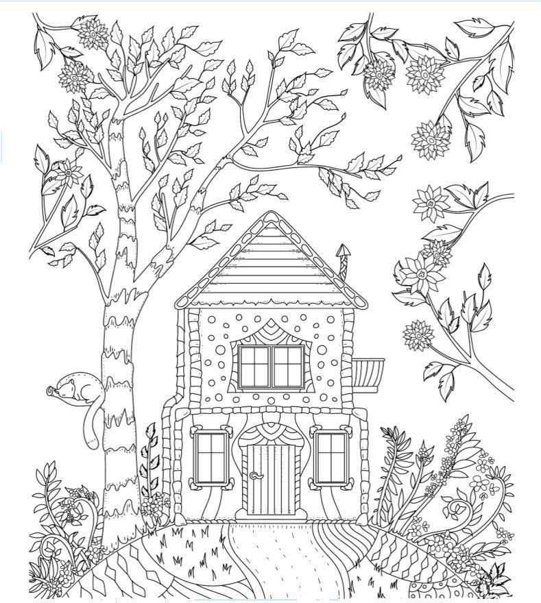 789x880 Cottage On The Hill Coloring Page Doodle It! Adult