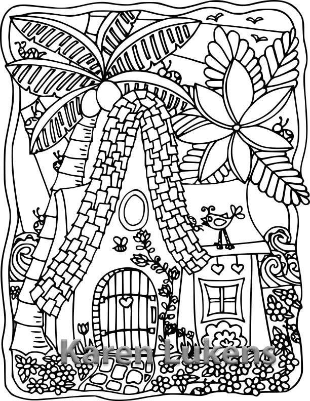 612x792 Happy Island Cottage, Adult Coloring Book Page, Printable