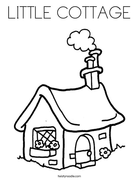 468x605 Little Cottage Coloring Page
