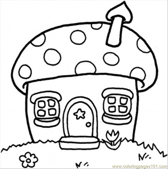 650x653 Mushroom Cottage Coloring Page