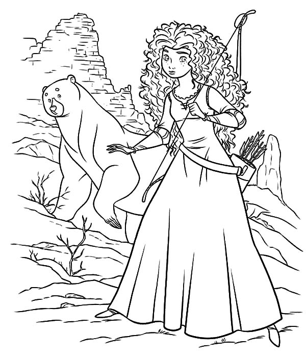 600x704 Princess Merida And Her Mother Wander To Witch Cottage Coloring
