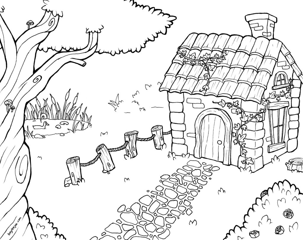 1024x813 Printable Bayleejae Colouring Pages Cottage House Drawings Free