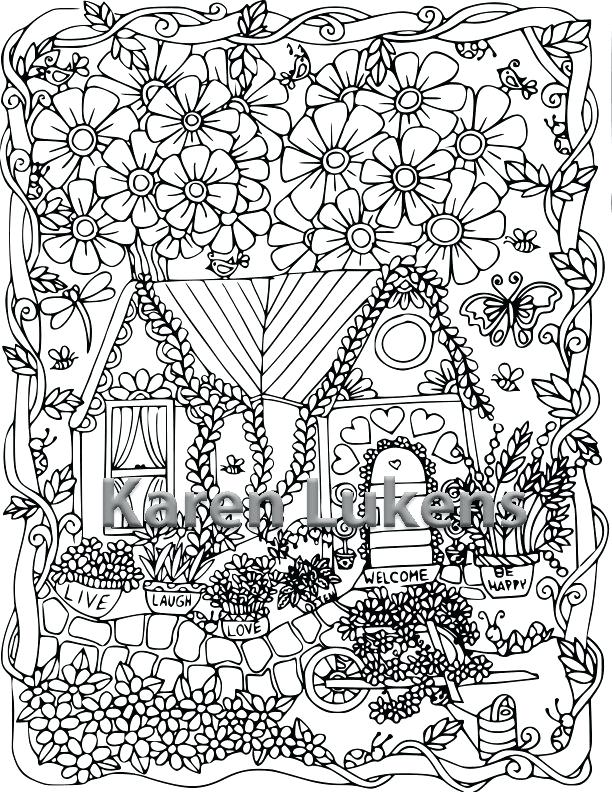 612x792 Artistic Coloring Pages Happy Garden Cottage Adult Page Art