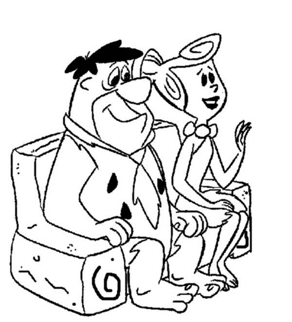 600x660 Fred And Wilma Sitting On The Couch In The Flintstones Coloring