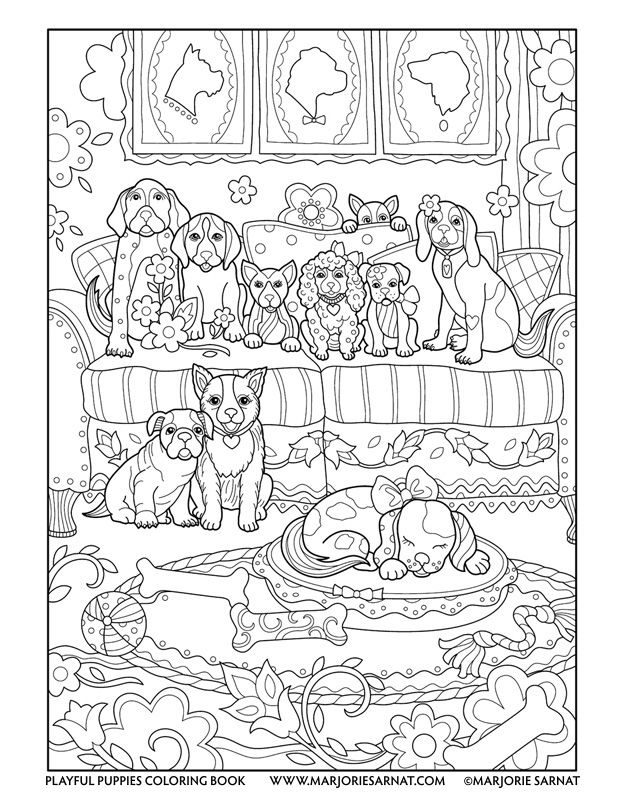 618x800 Pups On A Couch Playful Puppies Coloring Book