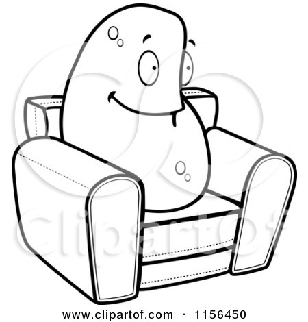 450x470 Cartoon Clipart Of A Black And White Lazy Couch Potato On A Chair